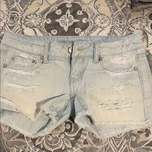 American eagle light washed destroyed jean shorts
